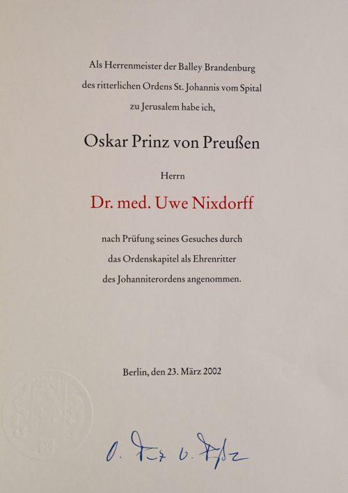 Ehrenritter des Johanniterordens März 2002