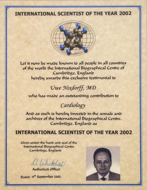 International Scientist of the year 2002